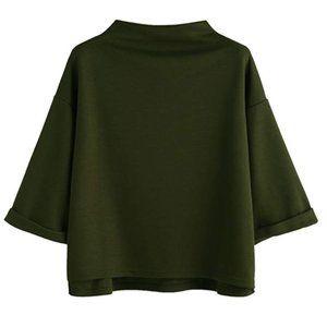 Green Mock Turtleneck Kimono Tshirt
